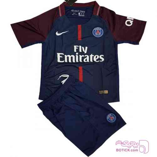 ست پیراهن شورت بچگانه پاریس سن ژرمن سورمه ای لباس کودک پسرانه