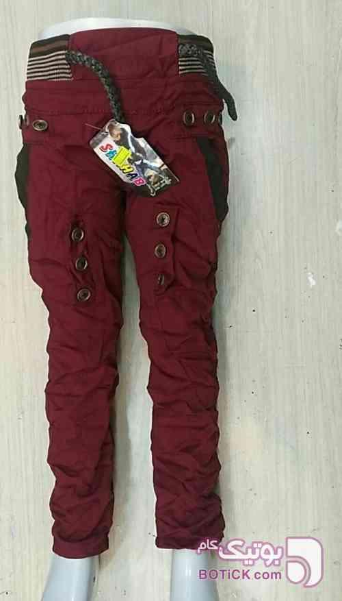 شلوار کتان چروک  زرشکی لباس کودک پسرانه