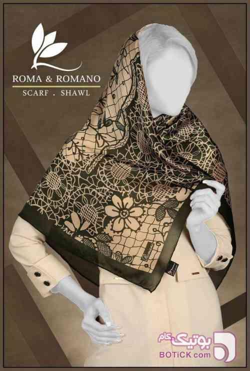 روسری ابریشم ترک رومانو  سبز شال و روسری
