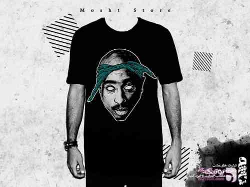 2pac | مجموعه طرح توپاک مشکی تی شرت مردانه