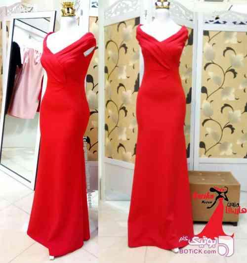 ماکسی یقه چین دار قرمز لباس  مجلسی