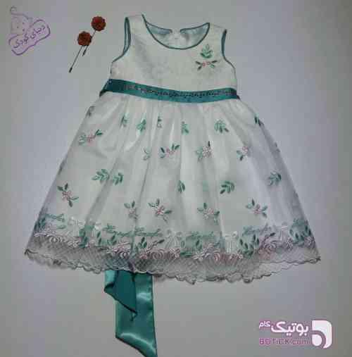 پیراهن مجلسی فیروزه ای لباس کودک دخترانه