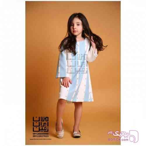 لباس دخترانه فیروزه ای لباس کودک دخترانه