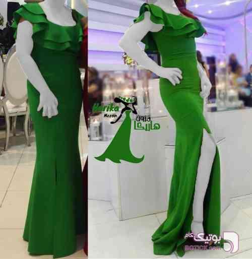 ماکسی یقه چین دار پایین چاک دار سبز لباس  مجلسی