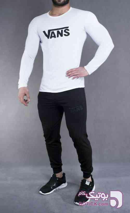 ست تیشرت و شلوار اسلش VANS سفید ست ورزشی مردانه