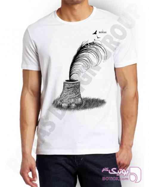 طرح قلم سفید تی شرت مردانه