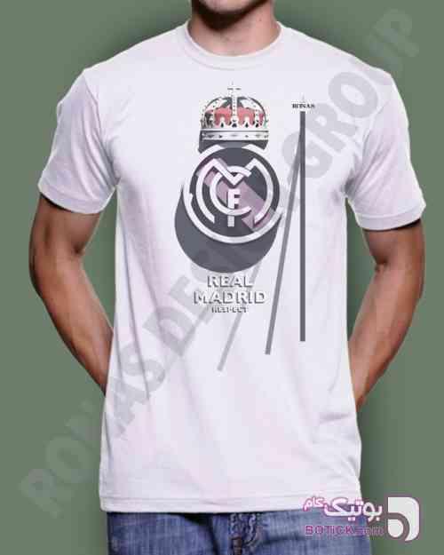 طرح تیم رئال مادرید سفید تی شرت مردانه