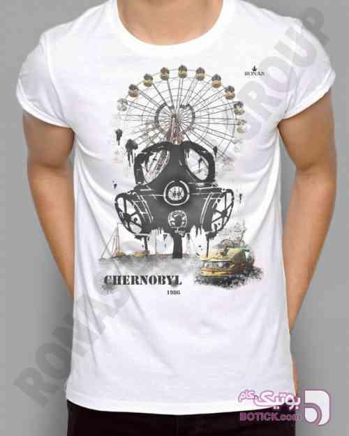 طرح چرنوبیل سفید تی شرت مردانه