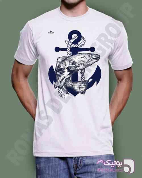 طرح لنگر سفید تی شرت مردانه