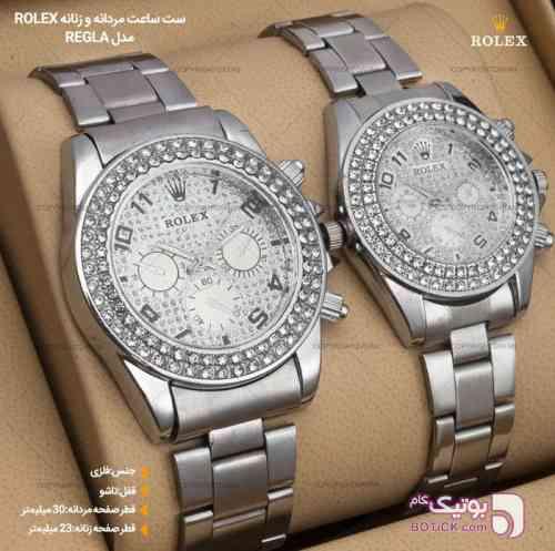 ست ساعت Rolex نقره ای ساعت