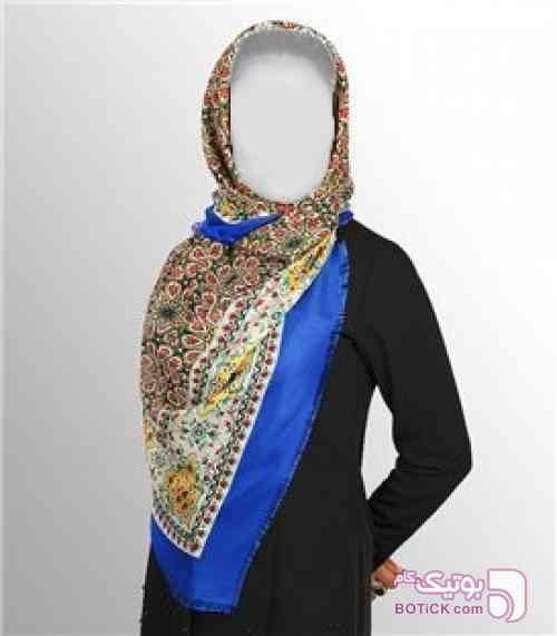 روسری قواره دار زنانه ابریشمی آبی شال و روسری