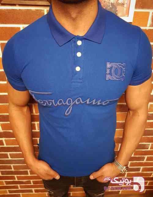 تیشرت یقه دار اسپرت fergama آبی تی شرت مردانه