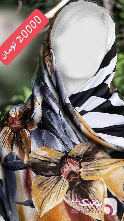 روسری حریر نخ تک رنگ مشکی شال و روسری