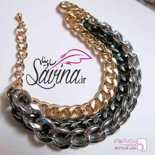دستبند سه زنجیره طرح کارتیر مشکی دستبند و پابند