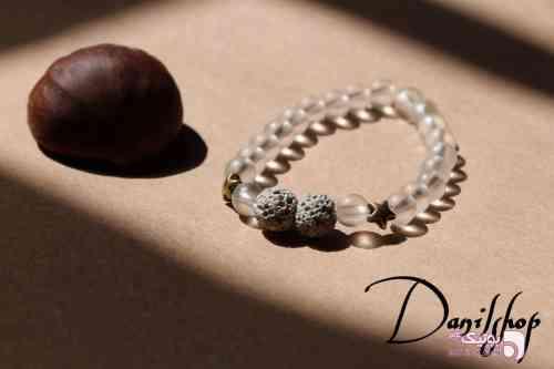 دستبند سنگ اونیکس و لاوا سفید دستبند و پابند