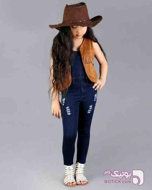 جین مکانیکی آبی لباس کودک دخترانه