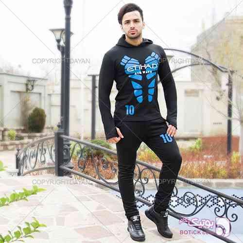 ست سویشرت و شلوار Etihad مشکی ست ورزشی مردانه