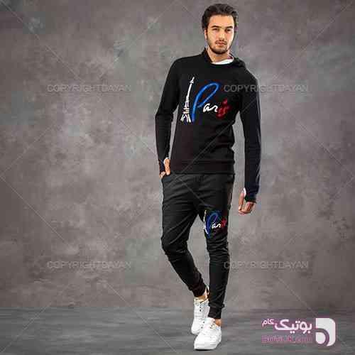 ست سویشرت و شلوار Paris مدل Pegan مشکی ست ورزشی مردانه