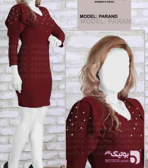 سارافون مدل پرند زرشکی لباس  مجلسی