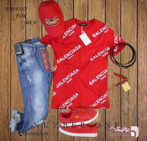 تی شرت balenciaga قرمز تی شرت مردانه
