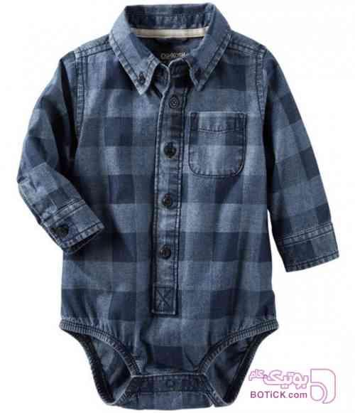 پیراهن زیر دکمه دار oshkosh مشکی لباس کودک پسرانه