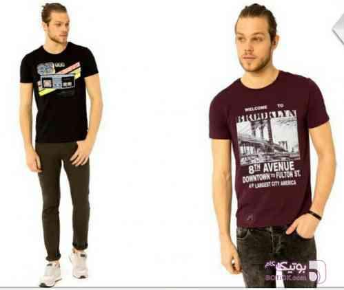 تیشرت طرحدار مارک LFT men آبی تی شرت مردانه