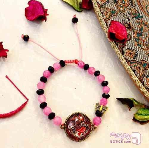 دستبند سنگ پروانه صورتی دستبند و پابند