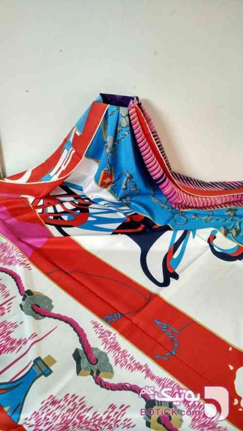 روسری ابریشم توویل آبی شال و روسری