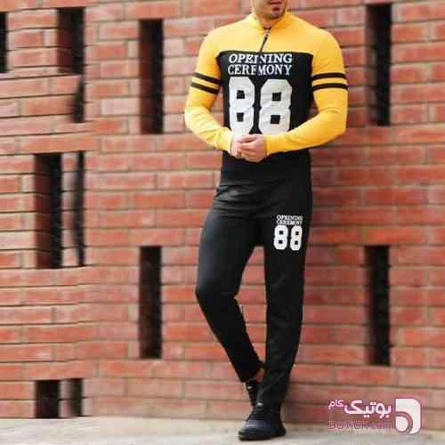 سویشرت و شلوار زرد ست ورزشی مردانه