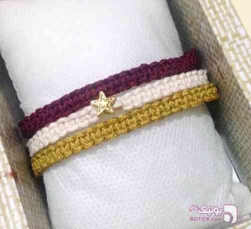 دستبند دست بافت سه بند طلایی دستبند و پابند
