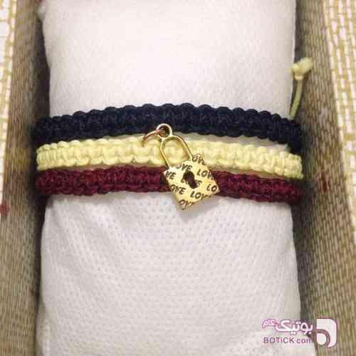 دستبند دست بافت سه بند زرد دستبند و پابند