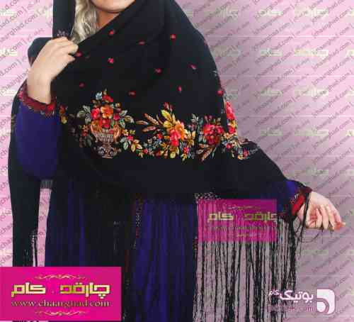 روسری ترکمنی پشمی اصیل مشکی شال و روسری