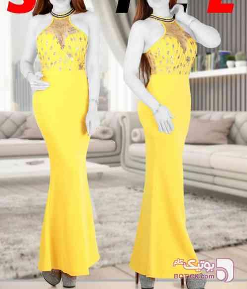 لباس مجلسی ماکسی بلند  زرد لباس  مجلسی