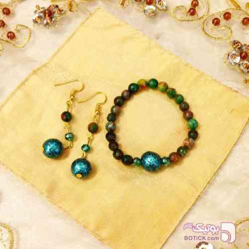 نيم ست دستبند و گوشواره سنگ سبز ست زیورالات