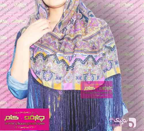 روسری ترکمنی بهاره آبی شال و روسری