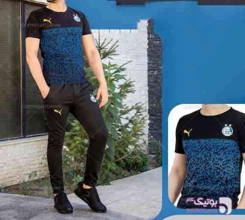 ست تیشرت وشلوار استقلال مشکی تی شرت مردانه