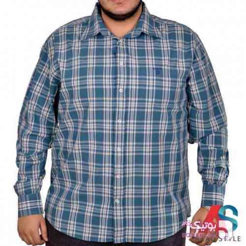 پیراهن سایز بزرگ  آبی سایز بزرگ مردانه