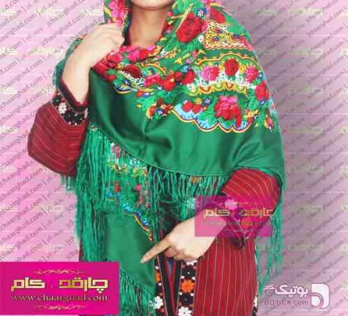 روسری ترکمنی چهارفصل سبز شال و روسری