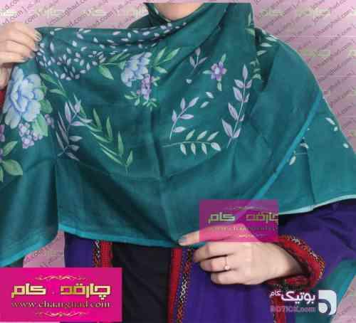 یالق ترکمنی سبز شال و روسری