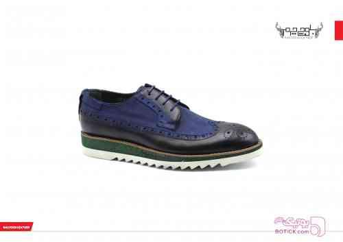 کفش چرم مردانه سورمه ای كفش مردانه