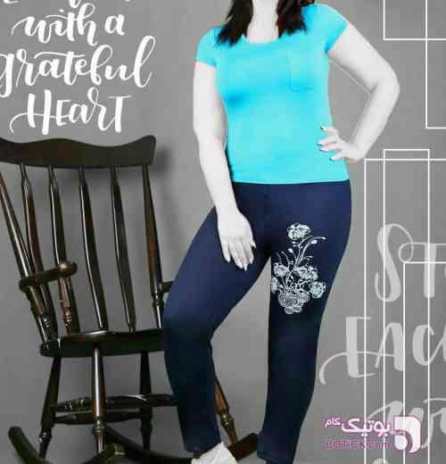 شلوار اسپان سایز بزرگ آبی شلوار زنانه