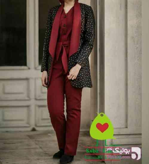 مدل شیما بیلر کت سورمه ای كت و شلوار زنانه