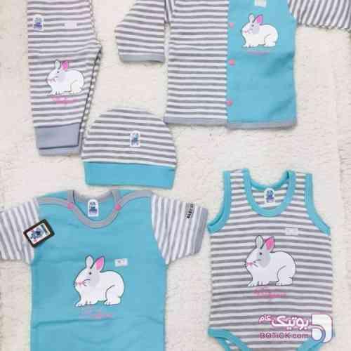 ست5تیکه نوزاد طرح خرگوش آبی لباس کودک دخترانه