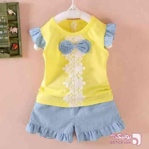 پاپیون زرد لباس کودک دخترانه