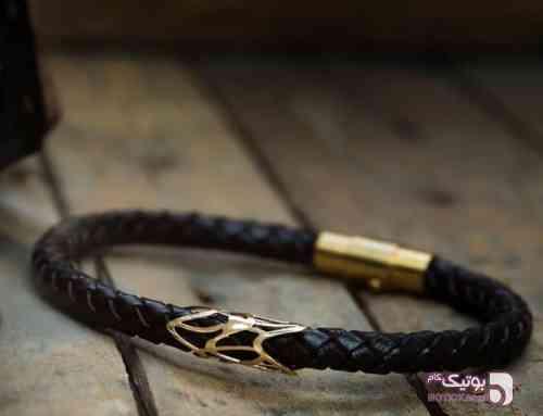 دستبند چرم مردانه و زنانه مشکی دستبند و پابند
