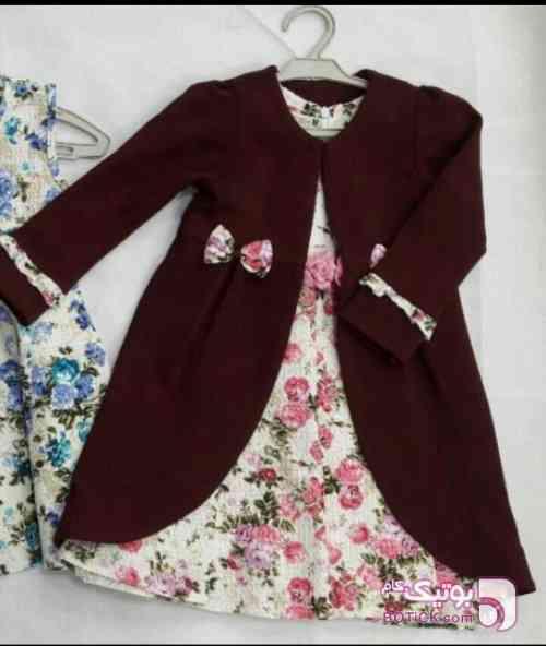 کت و سارافون مجلسی اعلا  زرشکی لباس کودک دخترانه