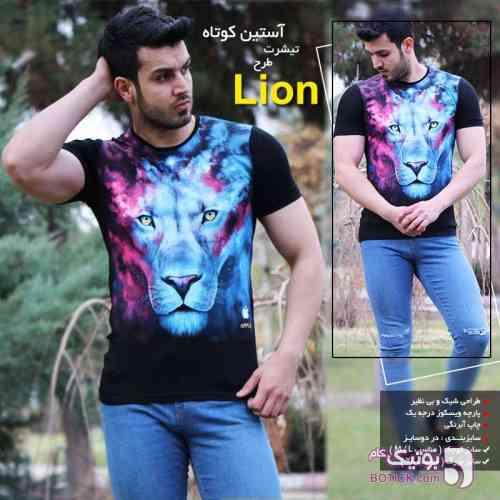 ست تیشرت آستین کوتاه طرح Lion & Wolf آبی تی شرت مردانه