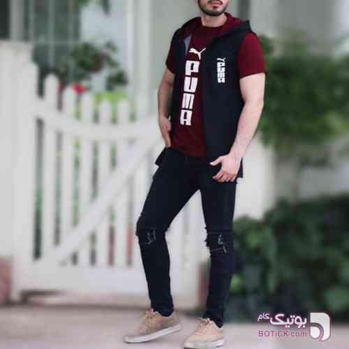 ست هودی و تیشرت puma مشکی تی شرت مردانه