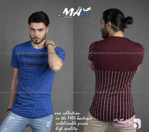 تیشرت آستین کوتاه آبی تی شرت مردانه