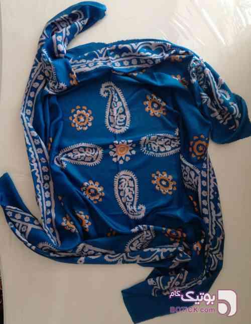 روسری ابریشم  آبی شال و روسری